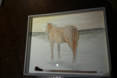 aquarelle geshilderd met paardenhaar